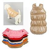 Rantow Habillement de chat de chien d'automne d'hiver réchauffent le manteau, 7 couleurs classiques Vêtements d'extérieur Doudoune pour Teddy, Yorkshire Terrier, Chihuahua, Poméranie (XS, Light Brown)
