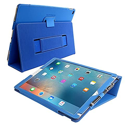 iPad Pro 12.9 (2017) Case, Snugg - Electric Blue Leather Smart Case Cover [Lifetime Guarantee] Apple iPad Pro 12.9 (2017) Protective Flip Stand Cover with Auto Wake / Sleep