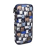 Teamoy Aufbewahrung Tasche für Tunesische/Afghanische Häkelnadeln(die Länge von 11 Zoll), Häkelnadeln, Häkeln oder Sträkeln Zubehör, Katzen blau