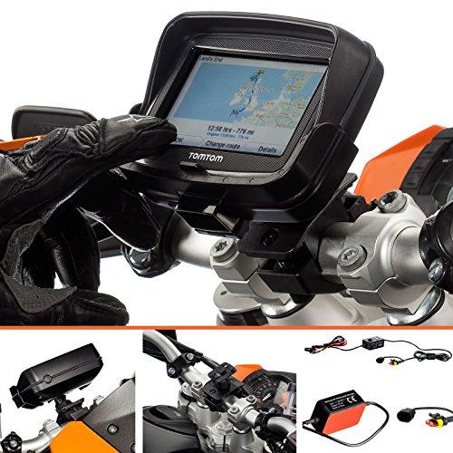 UltimateAddons®-Pro 19-35mm manubrio con supporto dedicato per TomTom Rider v54.3con 2Amp Cavo Hardware carica batterie
