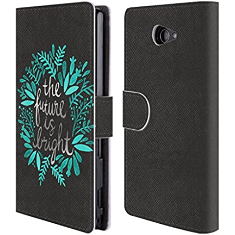 Official Cat Coquillette Future is Bright Charcoal Quotes Typography 1 Leather Book Wallet Case Cover For Sony Xperia