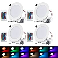 Esbaybulbs LED Round Recessed Ceiling Panel Light Color Changing RGB Ceiling Lamp 10W Remote Control with LED Driver [Pack of 4] by Made in China