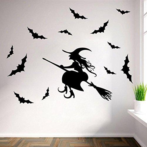 Schaukel Dekoration Mädchen Auf Halloween (Bovake Glückliche Halloween-Hexe-Schläger-Wand-Aufkleber-Fenster-Hauptdekoration)