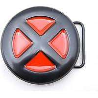 Rika0-0 Jeans X-men Belt Buckle Red Black Round X XMen XMan, 3 inches