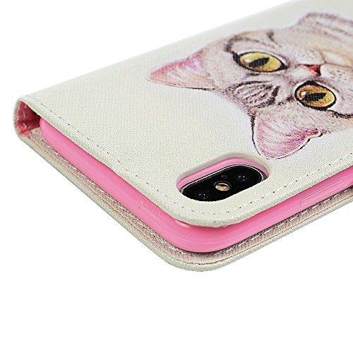 iPhone X Flipcase YOKIRIN Case für iPhone X Handyhülle Flip Case Hardcase Schutzhülle Ledertasche PU Leder Huelle Wallet Stand Halter Innere TPU Handytasche Schale Bookstyle Portemonnaie Handycase in  Cat