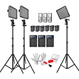Emgreat® Aputure Amaran HR672C HR672S 672 Led Video Light Panel Studio Lighting Kit with 2.4G FSK Wireless Remote Control, Battery Pack and Pergear Clean Kit (CCS)
