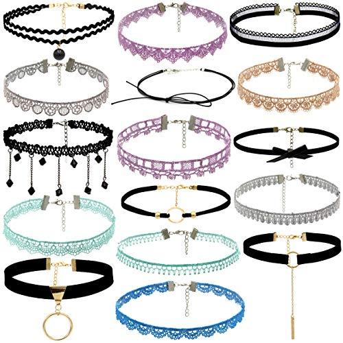 sche einfache 16 Stück Choker Halskette Set Stretch Samt Classic Gothic Tattoo Spitze Choker Seite Blume Halskette Choker personalisierte schicke Boho Kette (Mehrfarbig) ()