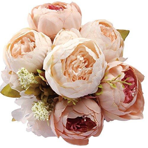 Amkun - bouquet vintage di peonie artificiali in seta, ornamento per casa e matrimoni, confezione da 1 champagne