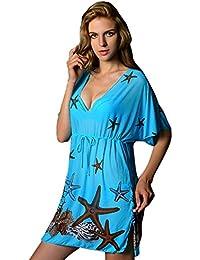 DEHANG - Paréo / Robe de plage Motif Floral Sexy Vintage pour Femme Bikini Cover Up - Bleu