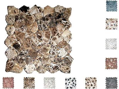 1Netz Marmor Mosaik Bruch getrommelt Castano von Mosaikdiscount24 - TapetenShop