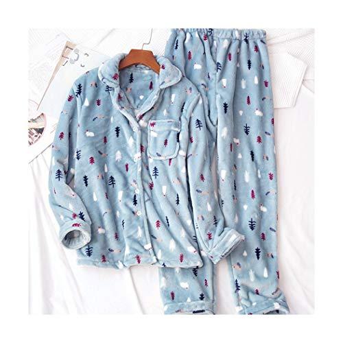 Flanell Frauen Pyjama Winter Warm Pijamas Langarm Pyjama Sets Weihnachten Süße Schlafanzüge Sets Frauen Blau Nachtwäsche XL ()