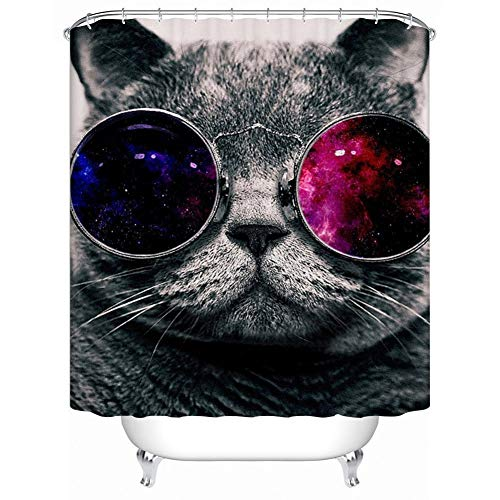 WZYMNYL Wasserdichte Stoff Bad Vorhänge Galaxy Hipster Cat Wear Farbe Sonnenbrille Duschvorhang für das Badezimmer,165 W x 180 H cm