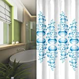 TEXTIL DUSCHVORHANG WEISS BLAU BUBBLES 240x200 cm INKL. RINGE 240 x 200! SHOWER CURTAIN BLUE!