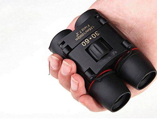 WH Portable Miniatur-Fernglas 30X60 Hd Weitwinkel-Portable Low Light Nachtsicht-Fernglas,Schwarz