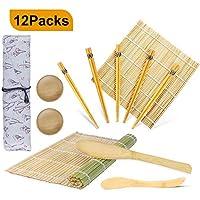 OFUN Kit Sushi in bambù per arrotolare 12 Pezzi - 2 x Stuoie, 1 x Paletta Riso, 1 x Spalmatore Riso, 5 Paia di Eleganti Bacchette, 2 x Piccolo Piatto,Guida per Principianti Fai da Te a casa (PDF)