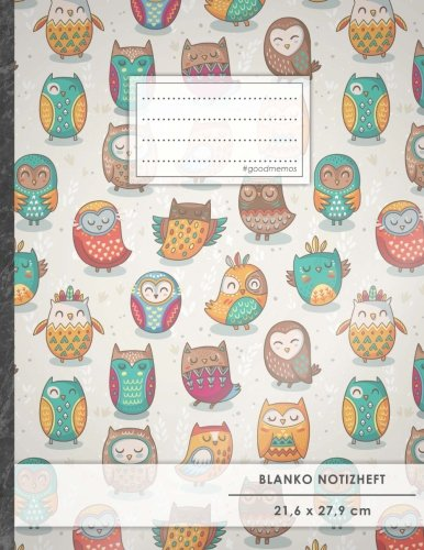 """Blanko-bücher Weiße Kinder Für (Blanko Notizbuch • A4-Format, 100+ Seiten, Soft Cover, Register, """"Lustige Eulen"""" • Original #GoodMemos Blank Notebook • Perfekt als Zeichenbuch, Skizzenbuch, Sketchbook, Leeres Malbuch)"""