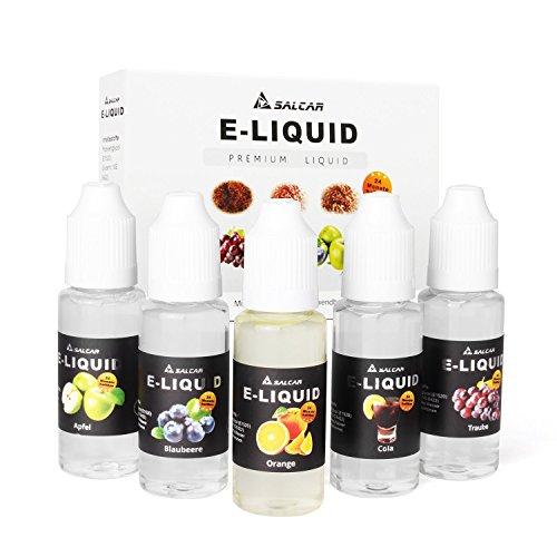Salcar E-Liquid 0,0mg Nikotin, 1er Pack (5x 20ml) für E-Zigarette, Apfel, Trauben, Orange, Blaubeere,Cola (Pflanzliches Glycerin Für Ecig)