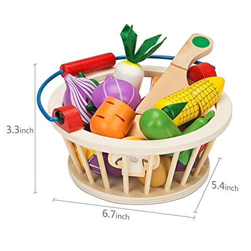 Elover Wooden Cutting Food Vegetables Set Play Food Toys with Basket 14 pcs for Kids and Child