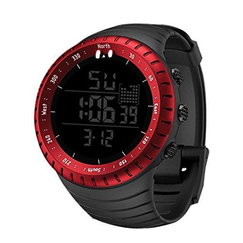 Hffan Herren uhren 30m Wasserdichte Militär Armbanduhr Sport-Uhren Verfügbar in der Nacht Original Quarzwerk Stoppuhr Timing Kalender Digitaluhr Schwarz/Rot/Blau(Rot,One size)
