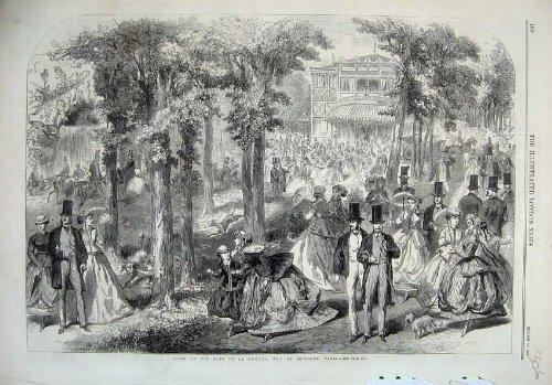 Bois de Boulogne Paris France 1866 de Cascade de Café de Scène