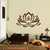 "Decorazione Floreale Lotus Flower with Om Sign Yoga Wall Vinyl Mandala Art Sticker, Vinile, Brown, 14"" h x22 w"