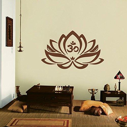 floral-decor-lotus-flower-with-om-sign-yoga-wall-vinyl-mandala-art-stickerlargebrown-by-wallsup