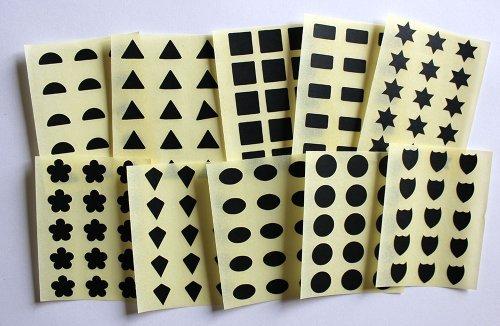 10mm Variado Formas. 150 Etiquetas, Negro, Pegatinas Autoadhesivas, Minilabel formas