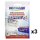 HEITMANN Express Spülmaschinen Reiniger 30g, 3er Pack: hygienische Sauberkeit fürs Geschirr, Hygienereiniger 3fach aktiv gegen Fett, Kalk, Gerüche -wirkt schon im Kurzprogramm, spart Zeit, Energie und Kosten