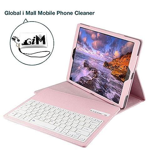 iPad Pro 12.9 Bluetooth Tastatur, G-i-Mall Rosa Ultradünn leicht Bluetooth Keyboard Case Flip Leder Schutzhülle Tasche Abnehmbar Drahtloser Bluetooth Tastatur Hülle für Apple ipad Pro 12.9 Zoll Tablet PC