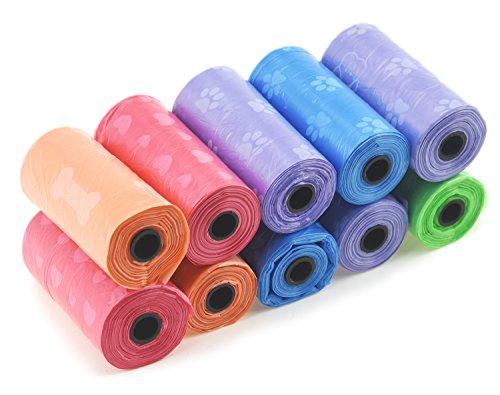FiveSeasonStuff 200er Packung Zufällige Farbe und Muster Hunde / Katzen / Haustier Biologisch Abbaubar Kotbeutel