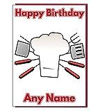 BBQ Chef Personalisierte Geburtstagskarte–Jeder Name und Alter Druck auf der Vorderseite