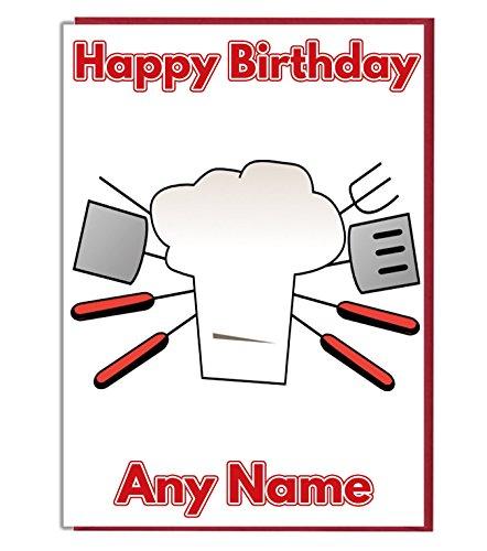 BBQ Chef Personalisierte Geburtstagskarte-Jeder Name und Alter Druck auf der Vorderseite
