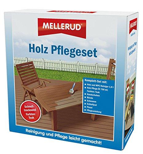 Mellerud Mellerud Holz Pflege-Set Teak, Holz WPC Reiniger, Pflegeöl, Pinsel, Schwamm, Schleifpad, Bürste, Handschuhe & Pflegeanleitung - 2005107713