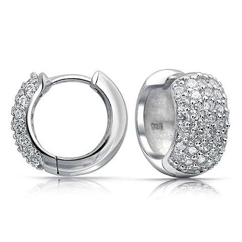 Bling Jewelry Cubic Zirconia Wide Pave 925 Silver Huggie Hoop Earrings