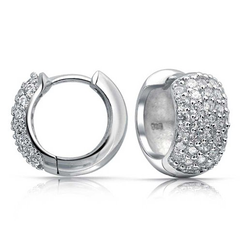 Bling Jewelry .925 Silver Cubic Zirconia Wide Huggie Hoop Earrings
