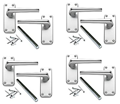 4 Pairs of Classic Victorian Straight Lever Latch Door Handles Aluminium Finish Perfect for Adding a Subtle Traditional Touch to Your Home. - low-cost UK light store.