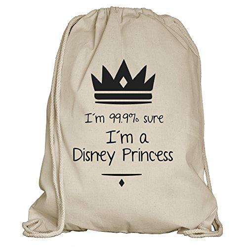 rnbeutel/Rucksack mit vielen Sprüchen und lustigen Motiven | Sportbeutel | Rucksack Gymsack | Stringbag | Hipster - Farbe: Natur/Sandfarben (im a Disney Princess) ()