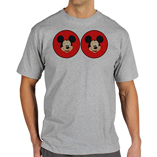 Mickey Mouse Disney Dope Icon Swag Colour Two Red Circles Herren T-Shirt Grau