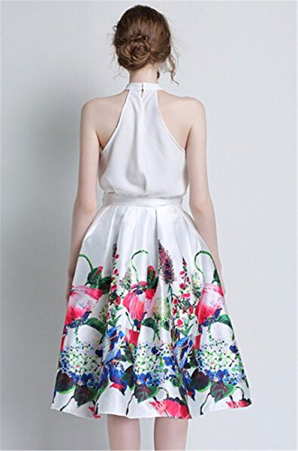 QIYUN.Z Mode Ruban Bowknot Plissee Taille Haute Imprime Floral Femmes Jupes De Tulle Rose