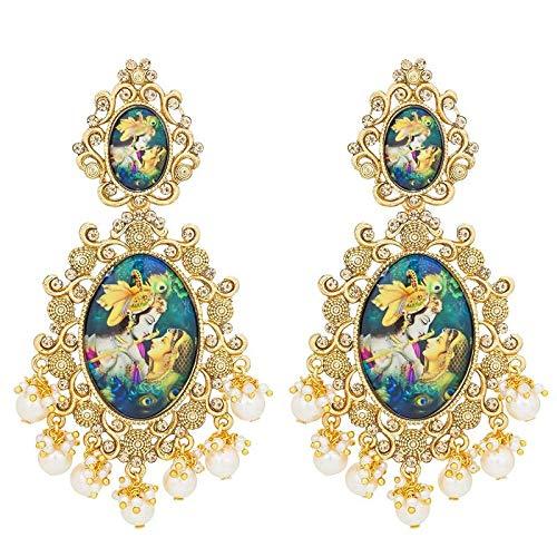 I Jewels Traditional Gold Plated Lord Radha-Krishna Pearl Earrings For Women (E2644)