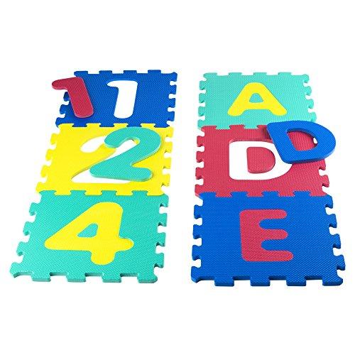 Alfombra bebe puzzle goma eva letras/números, 6 piezas, 64 x 96 cm (4