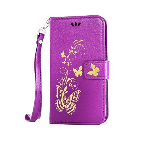 Anlike Lenovo A1000 Hülle, Schutzhülle für Lenovo A1000 Wallet Tasche [Butterfly geprägte Serie Bronzing] Handyhülle - Lila