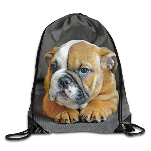 guolinadeou Unique English Bulldog Puppy Dog Print Drawstring Backpack Rucksack Shoulder Bags Gym Bag Sport Bag