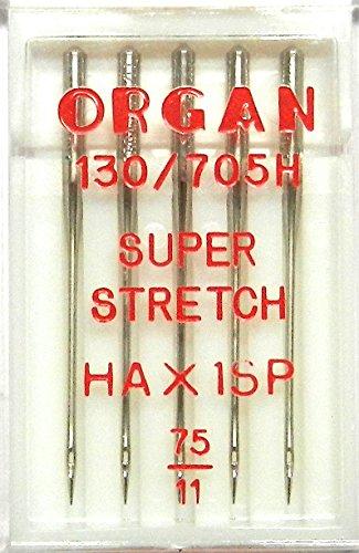 5 ORGAN Nähmaschinen Nadeln HA x 1 SP / St. 75 Super Stretch (für System 130/705H) Haushaltsnähmaschinen - Nähmaschine Für Lycra