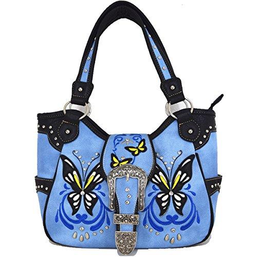 Blancho Bedding occidentale strass fibbia a farfalla-2 COMBO AVORIO BAG-BLUE