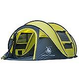 GAZELLE OUTDoor 4-Personen Pop-Up-Zelt, automatisches Aufstellen in Sekunden, einfaches Zusammenlegen, großartiges Familienzelt, Campingzelt, Outdoor-Zelt, gelb / grau