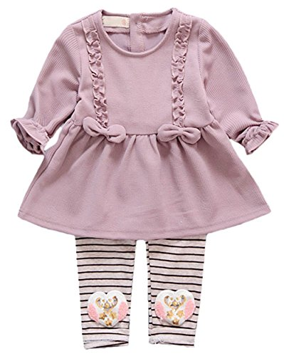 Scothen Baby Kinder Mädchen Warme Baumwoll Blumen Lange Hülsen Wolljacke + lange Hosen Outfits Set Kleidung Set Bekleidungssets Baby Sets (Fledermaus Gemütlich Kind Kostüme)