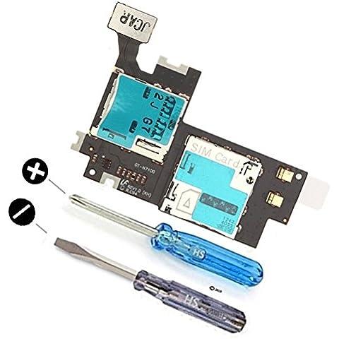 Connettore di ricambio per SIM e memory card con cavo Flex per Samsung Galaxy Note 2 N7100 Inclusi 2x cacciaviti per un installazione facile da MMOBIEL