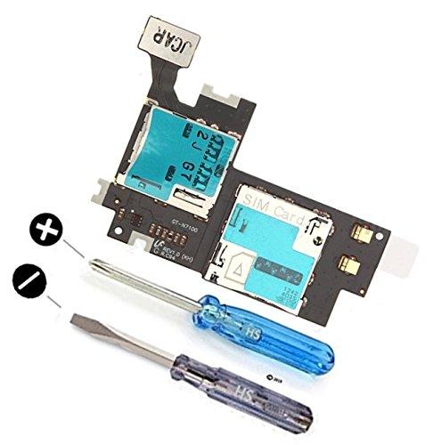 MMOBIEL Mikro SIM und SD Karte Reader für Samsung Galaxy Note 2 N7100 Kartenhalter / Kartenleser Slot Flex Kabel mit 2. Schraubenzieher (Sim-karte Für Das Galaxy Note 2)