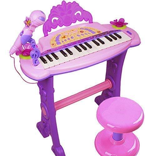 Dominiti Piano mit Mikrofon und Hocker | Viele Funktionen | Licht- und Soundeffekte | Kinder...